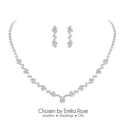 Silver Plated Cubic Zirconia CZ Necklace Earring Wedding Bride Jewellery Set