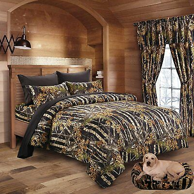 12 Pc Black Camo Comforter And Sheet Set Curtains King Camouflage Woods Leaves