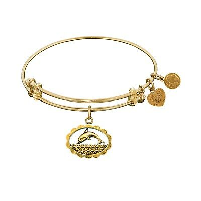 """Antique Angelica Collection Smooth Finish Brass """"Dolphin"""" Bangle Bracelet"""