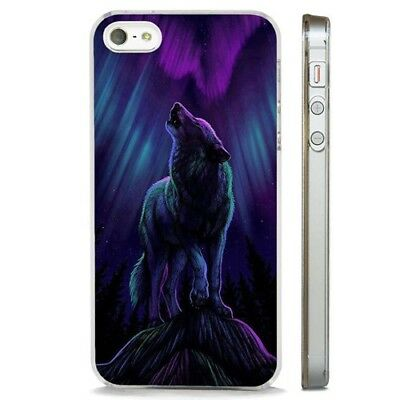 Wolf Howling Northern Lights Art CLEAR PHONE CASE COVER fits iPHONE 5 6 7 8 X