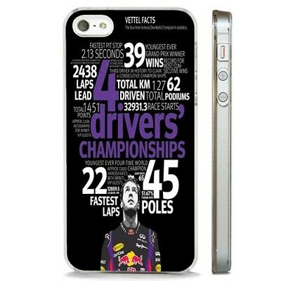 Sebstian Vettel F1 Racing CLEAR PHONE CASE COVER fits iPHONE 5 6 7 8 X
