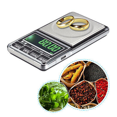 Rechargeable Electronic Digital LCD Pocket Scale Weigh Home Herbs 0.01g - 1000g