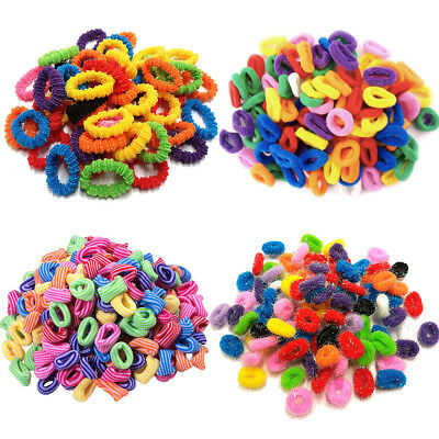 Pack Of 50 Assorted Colours Girls Kids Elastic Hair Band Bobbles Stripe Glitter