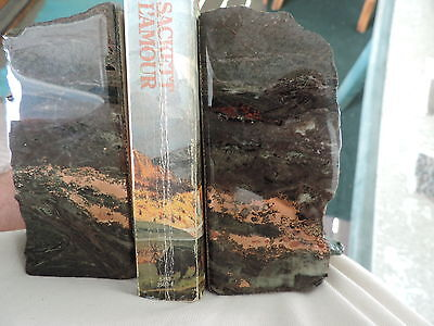 Q556 Copper Ore Bookends w/ Louis L'amour Jubal Sackett paperback LOOK CLOSE A+
