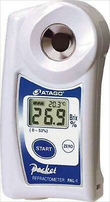 Atago Pocket Refractometer PAL-1 Brix 0-53% Digital Hand Held with cover set NEW