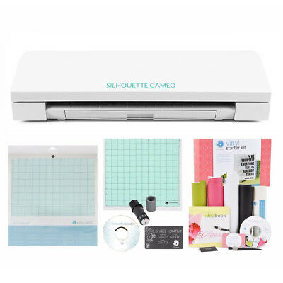 Silhouette CAMEO 3 Digital Cutting Machine + Vinyl & Tools Starter Kit
