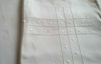 pair of antique german pillow cases with threadwork  white embroidery handmade