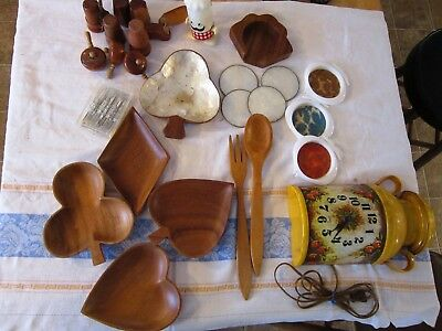 Vintage kitchen group lot 15+ retro wall clock,wooden s/p,monkey pod-snacks