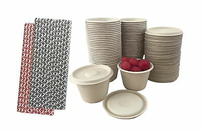 4 Ounce Souffle Cups and Lids - 100% Biodegradable and Compostable - Bagasse/...