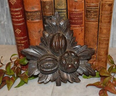 Antique German Black Forest Carved Wood Leaf Fruit Pediment Plaque Trim Mount
