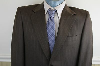 Vintage 1960s Curlee Tailored Brown Pinstripe Wool Gab 2 Button Mens 42 Suit