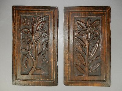 Pair of Antique 18th c. Carved Oak English  Panels