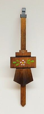 "Cuckoo Clock Pendulum 2"" Chalet Style NEW Brown Flowers German Made 7 1/4"" Long"