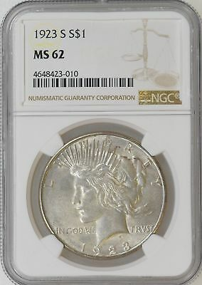 1923-S NGC MS62 Peace Silver Dollar Nice Strike Decent Luster - I-11000