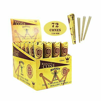 HORNET 72 Pre-Rolled Cones Natural Hemp King Size Organic Cigarette Rolling P...