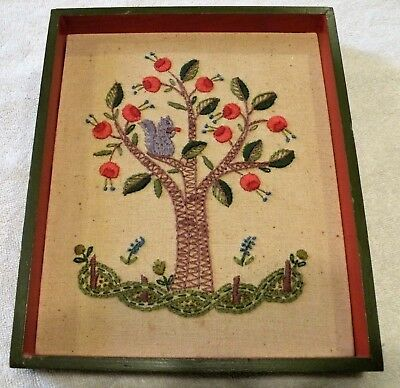 Vintage Completed Folk Art Framed Needlepoint - Squirrel Fruit Tree Collectible