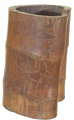 Antique Chinese Hand Carved Bamboo Brush Pot of 1915, Republican Period of China