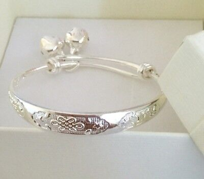 Silver Baby Bracelet Bangle With Bells Boxed Gift Christening Birth Baby Girl