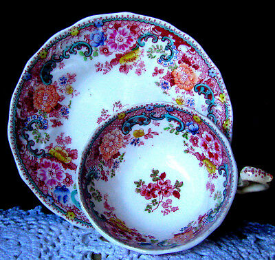Antique c.1750s Royal Worcester Polychrome Transfer Red Teacup and Saucer - RARE