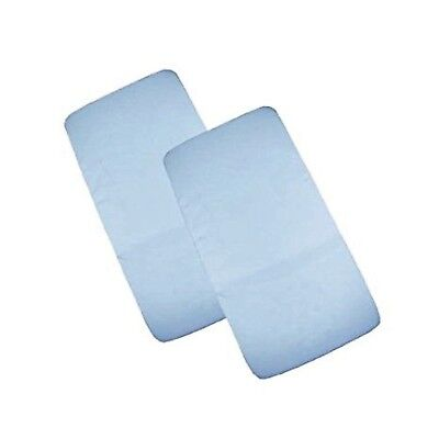 Cuddles Collection Two Cot Jersey Fitted Blue Sheets 100% Cotton - New In Pack