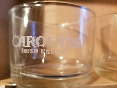 Brand New Never Used  Carolans Irish Creme Short Rocks Glasses (Set of Two)