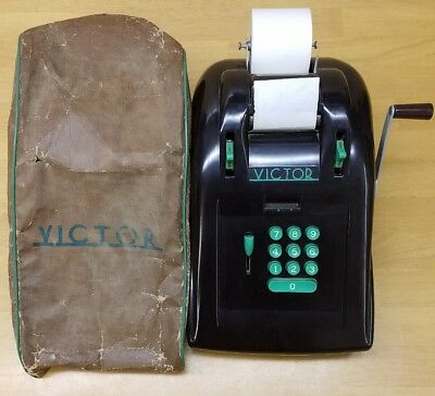 Vintage Bakelite Victor Adding Calculator Early 1900's With Cover and Paper
