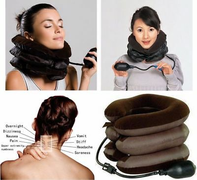 UK Air Inflatable Pillow Cervical Neck Head Pain Traction Support Brace Device