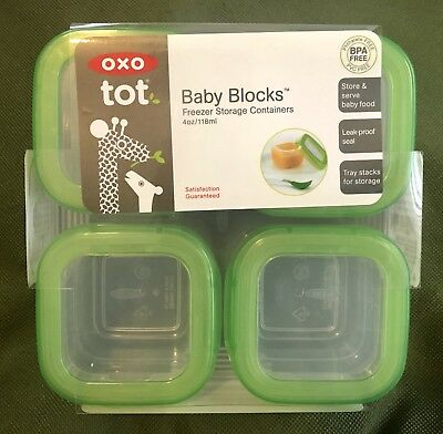 OXO tot Baby Blocks Freezer Storage Containers 4oz BPA FREE 8pc set
