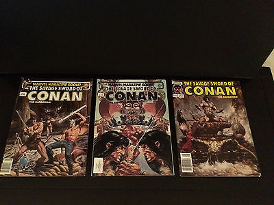 THE SAVAGE SWORD OF CONAN THE BARBARIAN by Marvel # 92, 93, 127