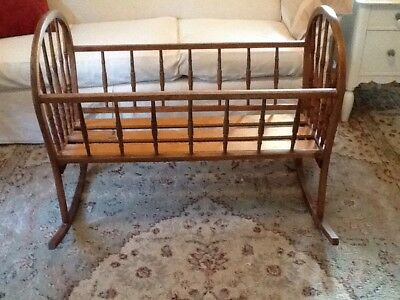 Antique Oak, Spindle, Bentwood Baby Cradle