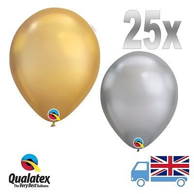 "25x 11"" Qualatex Chrome Gold and Silver Balloons New Years Party Great Gatsby"