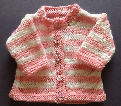 New hand knitted Baby's Cardigan, Pink And White, Size 000. Save post on 2 items