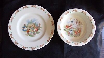 Royal Doulton Bunnykins Camping Plate & Kite Flying Bowl 2 pieces, Free Shipping