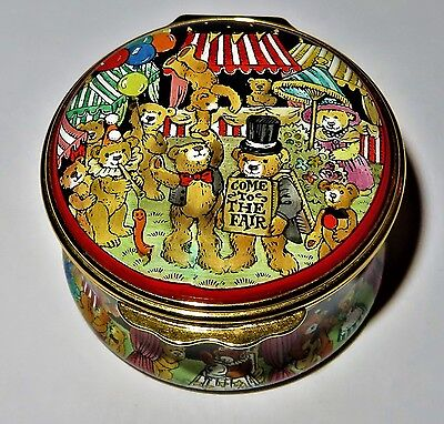Halcyon Days Enamel Box - Teddy Bears Fair - Carnival - Clowns - Games - Mib