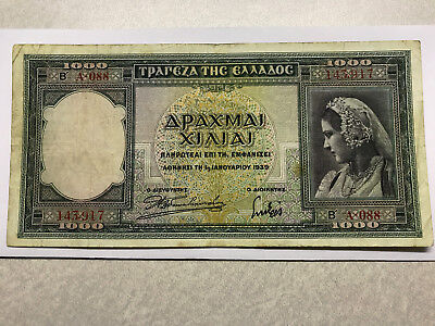 1939 Greece 1000 Drachmai VF++ #5535