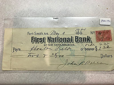 FIRST NATIONAL BANK OF FORT SMITH ARKANSAS With Stamp #2015