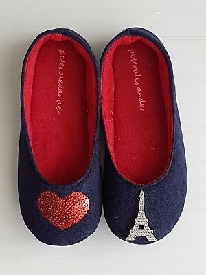 PETER ALEXANDER LADIES HEART PARIS COUTURE SLIPPERS SHOES in Navy RRP$35.95