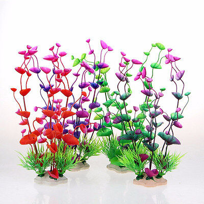 Fish Tank Aquarium Decor Colorful Artificial Plastic Underwater Grass Plant Pro