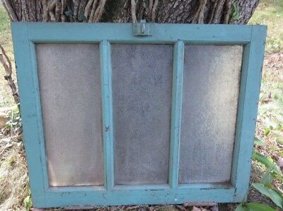 Antique VTG Textured Privacy Glass Bathroom Window Wood Architectural Salvage