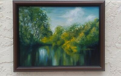 Original oil painting on paper canvas summer landscape, sunny day, green trees