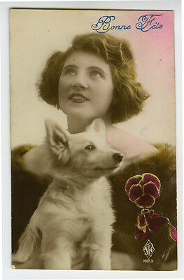 1920s French Deco Glamour Lady BEAUTY w/ WHITE DOG tinted photo postcard