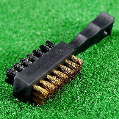 Golf Club Double Sided Brass Nylon Shoe Ball Groove Cleaning Cleaner Brush Black
