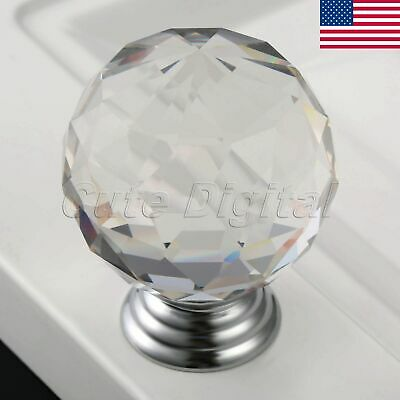 Clear Knobs Crystal Glass Pull Cabinet Drawer Closet Box Door Handle Round 40mm
