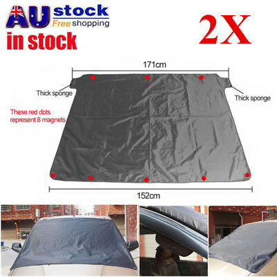 2X Magnetic Car Windscreen Cover Sun Shade Ice Frost Shield Snow Dust Protector