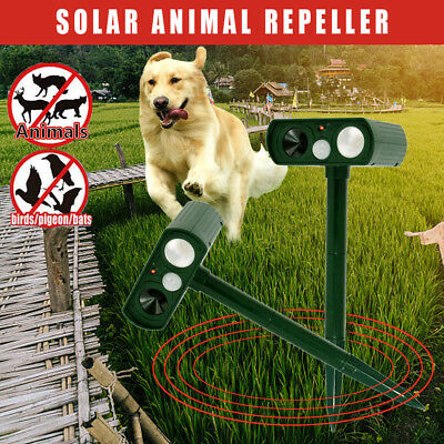 Ultrasonic Bird Dog Animal Repeller Pest Repellent with Large Solar Power Plate