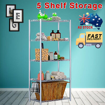 5-Tier Shelving Unit Display Stainless Steel Wire Metal Rack Layer Shelf Storage