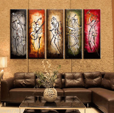5PC Modern Abstract Huge Wall Art Oil Painting On Canvas: Musical (No Frame)