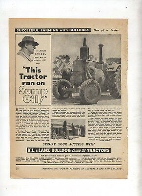 K.L. & Lanz Bulldog Tractor Advertisement removed from 1951 Farming Magazine