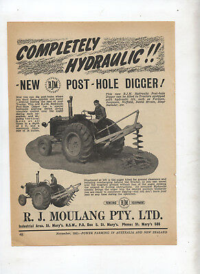 RJM Post Hole Digger Tractor Advertisement removed from 1951 Farming Magazine