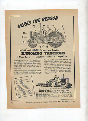 Hanomag Tractor Advertisement removed from 1951 Farming Magazine